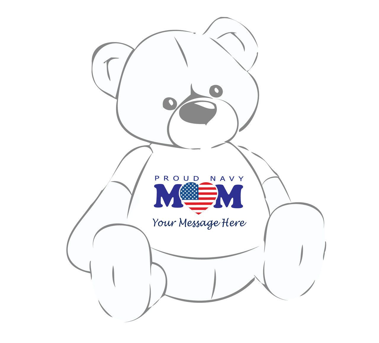 Personalized Proud Navy Mom heart flag  Giant Teddy Bear shirt