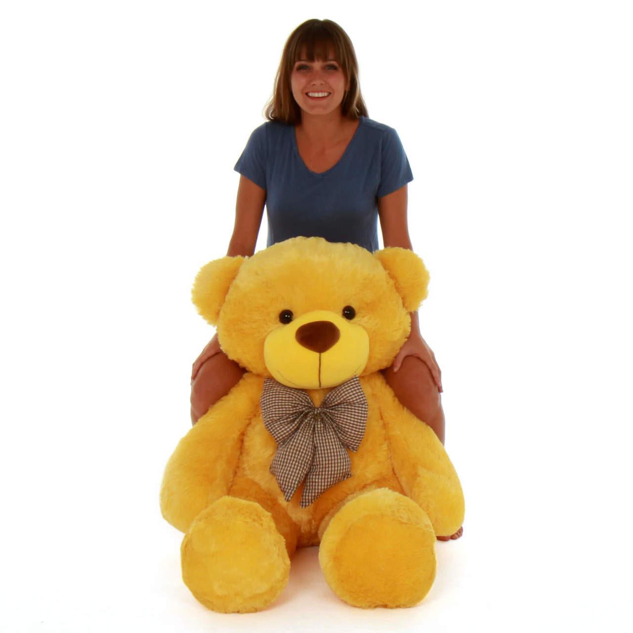 48in Life Size biggest Yellow Teddy Bear Cuddles Giant Teddy