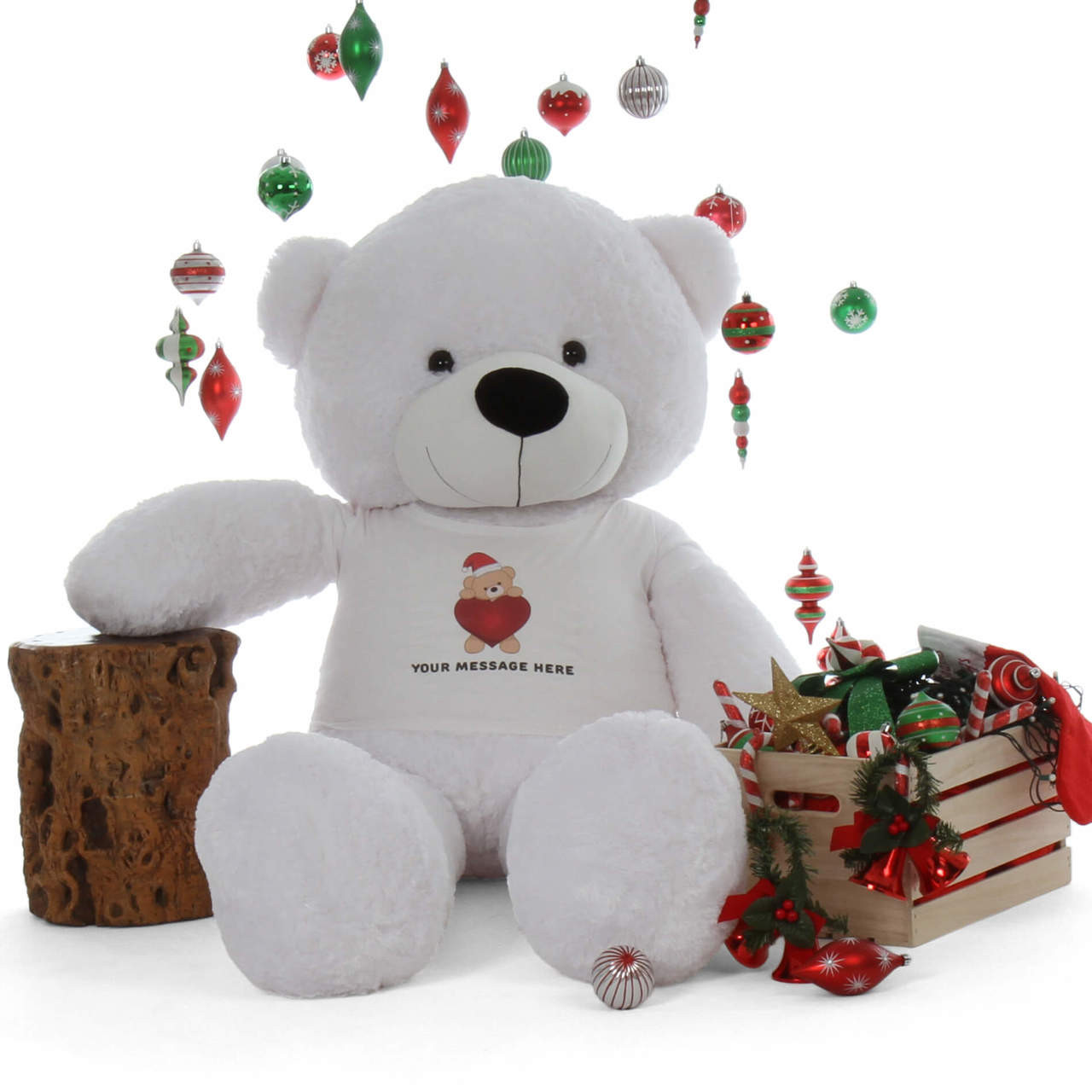 72in adorable Life Size Personalized White Christmas Teddy Bear Coco Cuddles