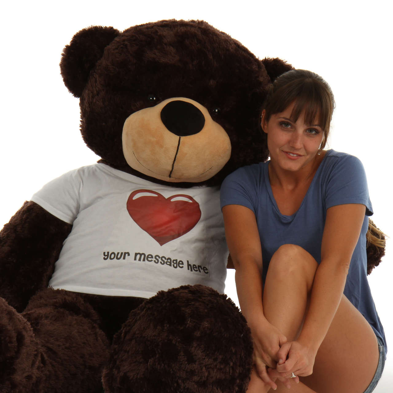 60in life size Personalized Dark Brown softest fur Teddy Bear Brownie Cuddles in Red Heart Shirt