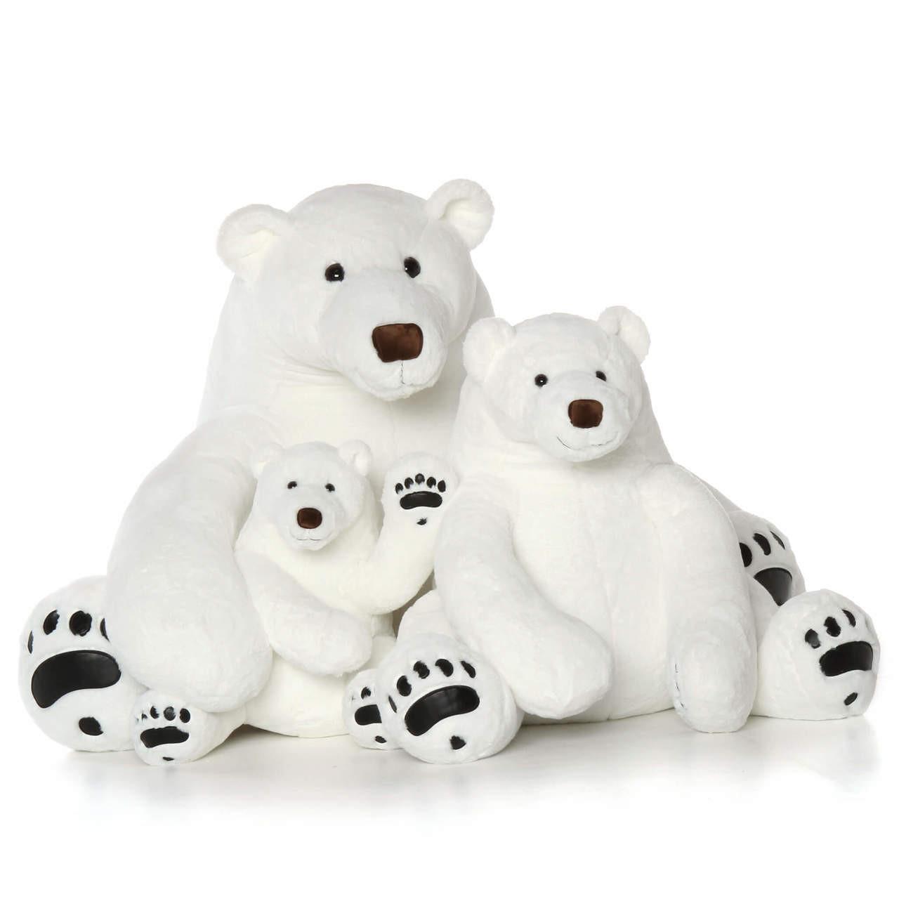Giant Stuffed Polar Bear Family