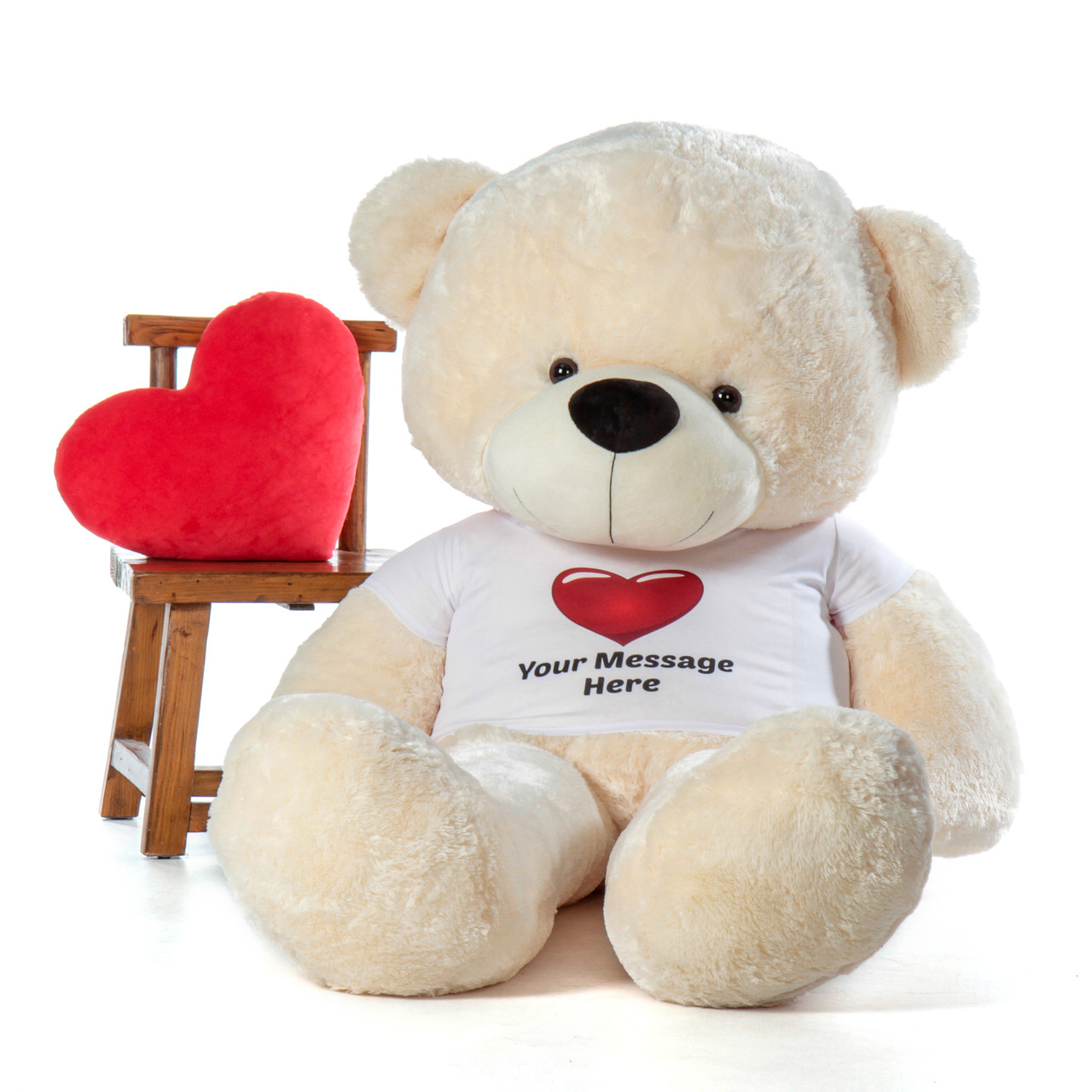 72in life size softest Personalized Teddy Bear Vanilla Cream Cozy Cuddles Red Heart Shirt