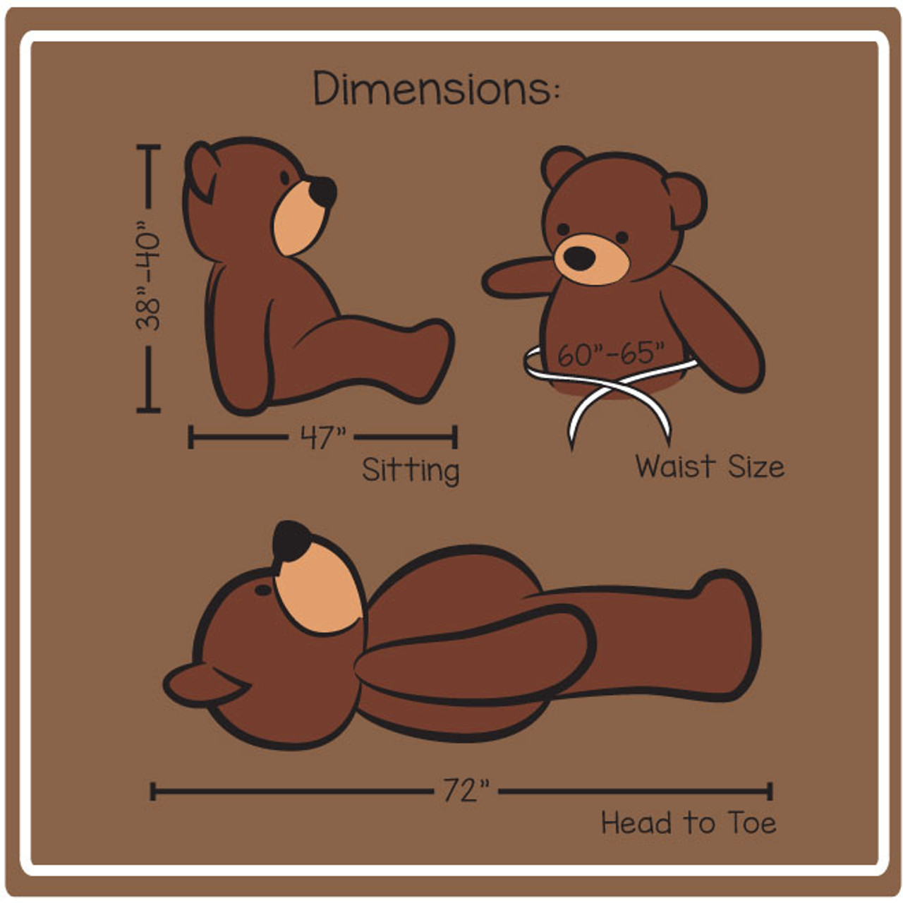 6 Foot Teddy Bear Dimensions