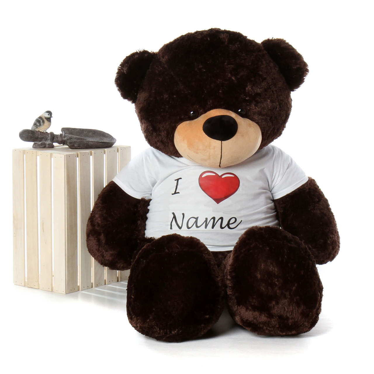 Life Size 5ft Personalized Valentine's Day Teddy Bear Brownie Cuddles dark brown fur