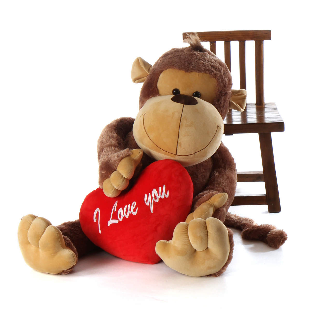 5ft Life Size Stuffed Monkey Big Daddy With I Love You Heart Pillow
