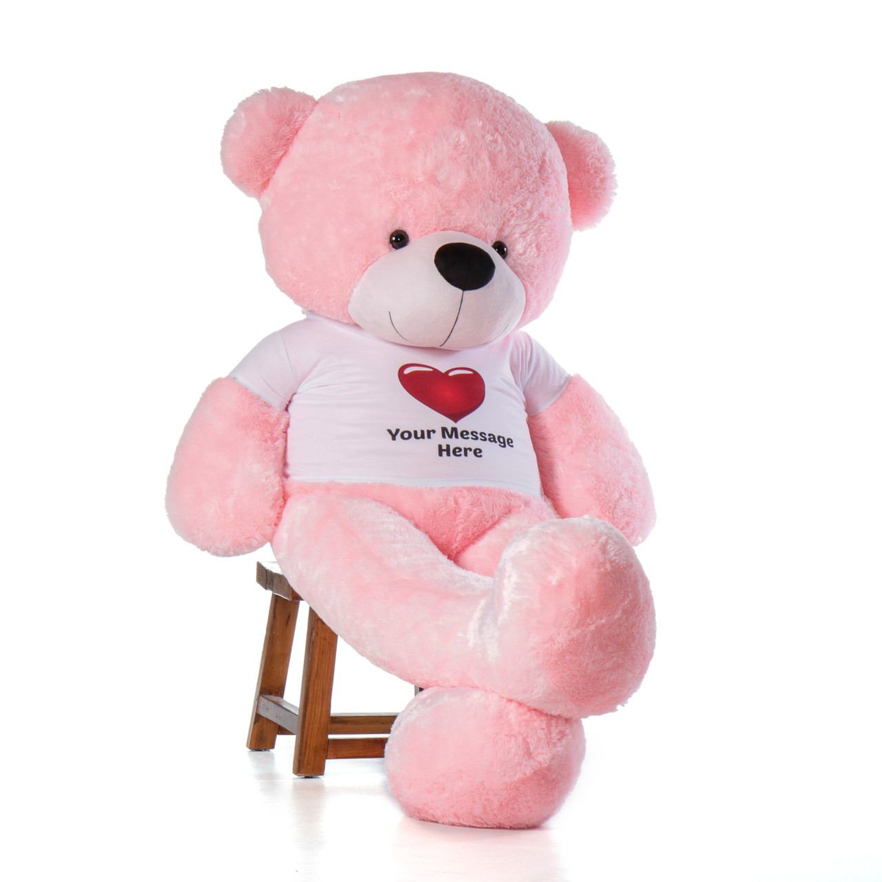 72in Pink Lady Cuddles in Personalized Red Heart T-shirt