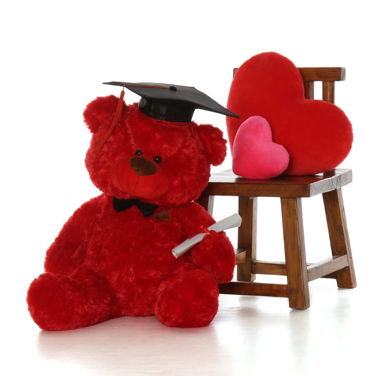 Life Size 3ft Red Graduation Teddy Bear with Cap and Diploma Randy Shags