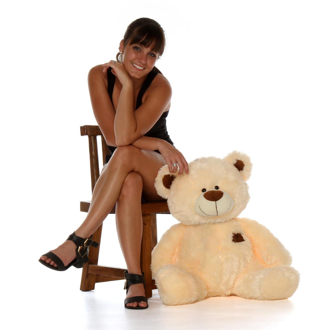 2.5 Foot Sitting Position Big Teddy Bear Skin color Tan Cream Bear