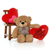 38in Shaggy Amber Cuddles with Happy Valentine's Day Heart
