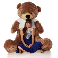 72in Sunny Cuddles Mocha Brown Teddy Bear in Valentine's Day Shirt