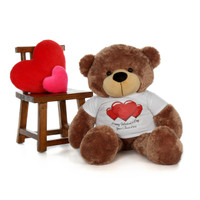 48in Sunny Cuddles Mocha Brown Giant Teddy Bear in Red Heart Happy Valentine's Day T-Shirt (Choose your message)