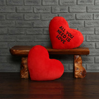 "Personalized Red Pillow Heart with ""All You Need is Love"" Message"