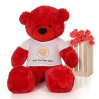 5ft Bitsy Cuddles Red Giant Teddy Bear in Paw Stamp Valentine's T-Shirt