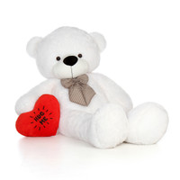 6ft Valentine's Day White Giant Teddy with a Hug Me plush heart