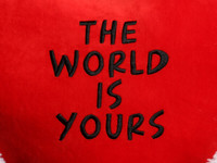 18in red heart pillow black embroidery 'The World Is Yours' text close-up