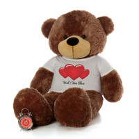 60in Mocha Brown Bear by Giant Teddy Sunny Cuddles in Wish I Was There T-Shirt