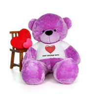 6ft Purple Bear by Giant Teddy in a Personalized message Red Heart Shirt