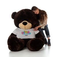 6 Foot Chocolate Brownie Cuddles Happy Birthday Personalized Teddy Bear
