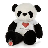 72in Huge Panda Rocky Xiong in Personalized Red Heart shirt