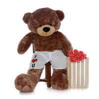 6 Foot Giant Brown Teddy Bear with I Love You Boxers
