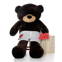 6 Foot Chocolate Brown Giant Teddy Bear with Personalized Boxers by Giant Teddy