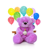 Super Soft Giant Purple Teddy Bear with Birthday Cupcake