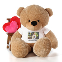 6 Foot giant Tan Teddy Bear with Personalized T-shirt