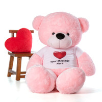 72in Giant Lady Cuddles Pink Teddy Bear in a Red Heart T-shirt