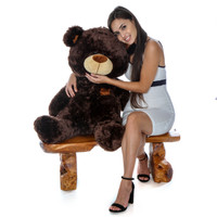 3ft Huge Chocolate Teddy Bear Almond Shags