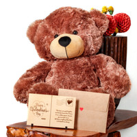Super Soft Cute Brown Teddy Bear with Laser Engraved Wooden Card Message (2 Foot)