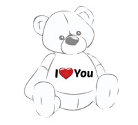Giant Teddy Bear with I Heart You T-shirt