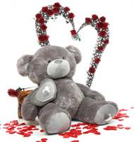 47in Huge Silver Teddy Bear Snuggle Pie Big Love