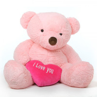 Life Size 5ft Pink Teddy Bear Gigi Chubs with I Love You Heart