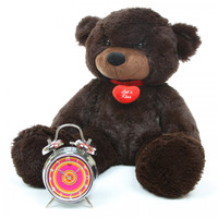 2ft Brownie Cuddles Dark Brown Teddy Bear with I Love You Necklace