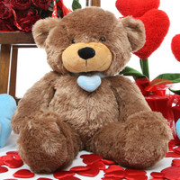 Sunny L Cuddles mocha brown teddy bear with necklace 24in
