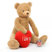42in Honey Heart Tubs amber brown teddy bear with I Love You Heart