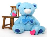 45in Blue Shorty Hugs Teddy Bear
