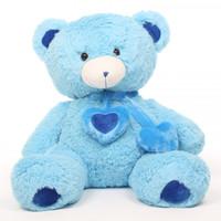 Shorty Hugs Cuddly Blue Heart Teddy Bear 36in
