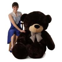 Tall dark handsome and cuddly 72in life size giant teddy bear Brownie Cuddles dark brown fur