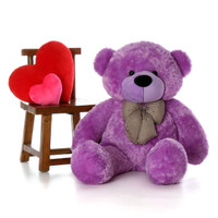 4ft DeeDee Cuddles huggable Purple Teddy Bear