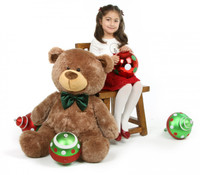 Christmas teddy bear mocha brown with green bow tie 35in