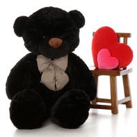 5ft Life Size Teddy Bear Juju Cuddles soft and huggable black fur
