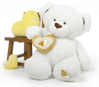 Chomps Big Love White Extra Large Huggable Teddy Bear 47 in