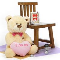 Hug Care Package BooBoo Shags 27in Cream Teddy Bear