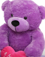 3ft Purple DeeDee Cuddles with Hot Pink I Love You Heart
