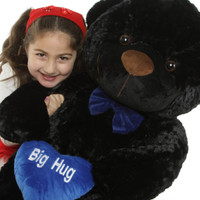 38in Black Juju Cuddles with Big Hug Blue Heart Package