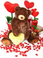 52in Jumbo Smooches Heart Tubs LETS KISS Yellow Heart Dark Caramel Teddy Bear