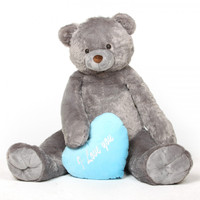 52in Jumbo Sugar Heart Tubs I LOVE YOU Blue Heart Silver Grey Teddy Bear
