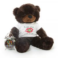 2.5ft Brownie Cuddles Big Teddy Bear with Kiss Me I'm Irish T-shirt