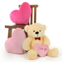 2.5ft Vanilla Cream Teddy Bear with Pink I Love You Heart